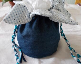 Denim and blue floral gingham pouch bag