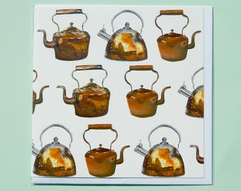 Multi Copper Kettles Greetings Card