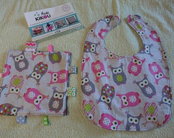 OWL birth Kit cool shades of pink and grey blanket has tags and bib
