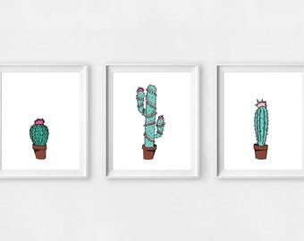 Set of three cactus prints, green, Instant download, fiesta