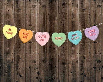 Candy Heart Garland, Bunting, Banner, Valentines Day, Instant Download, printable, conversation hearts, Valentines Decorations