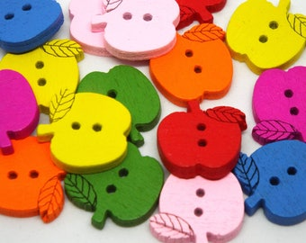 20x Mixed Wooden Apple 2 hole buttons 15 mm x 16mm