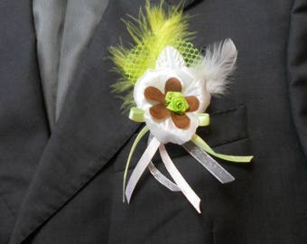 Lime green wedding boutonniere / chocolate