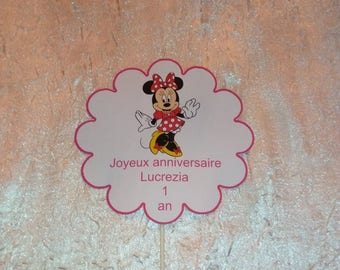 Minnie themed cake decorations / birthday, baptism with inscription