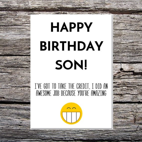 Son Birthday Card Funny Son Birthday Card Funny Happy