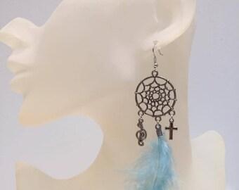 Dream catcher earrings blue feathers