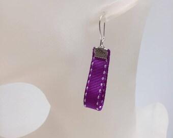 Neon Purple Ribbon earrings