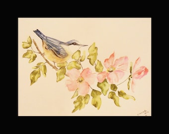 Watercolor and his bird with flowers