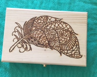 Wooden Box, Jewelry Box, Personalized Box, Feather