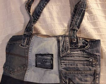 Recycled, worn denim handbag shoulder