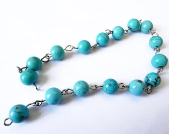 Strand 16 pearls in reconstituted turquoise 7 / 8mm