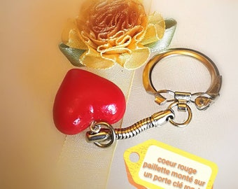 Red heart sequin on keychain