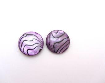 Purple pearl beads, round, flat, 2 cm