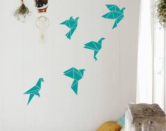 Birds Wall Decal-Nursery Wall Decals-Geometric Decor-Wall sticker-Pink Birds-Birds Vinyl decals-Pattern Wall sticker-Dorm decals-Flying bird