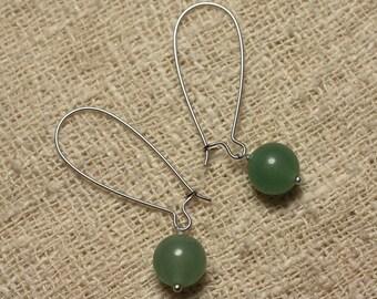 Dangle earrings gemstone - Aventurine green 10 mm