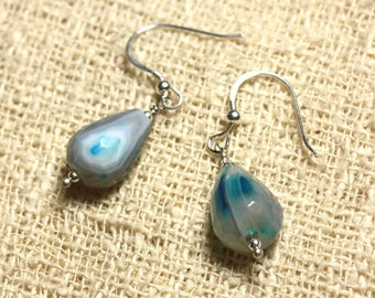 Earrings 925 Silver - Blue Agate drops faceted 14x10mm