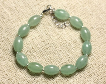 Bracelet 925 sterling silver and green Aventurine - stone Olives 10x8mm