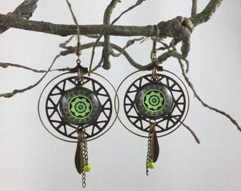 Mandala print dream catcher earrings