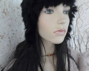 knitted rabbit fur hat one size