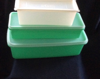 Vintage Tupperware 1970s Containers Vegetable Crispers clear cheese rectangle kitchen storage Vintage Green modern Kitchen gift, Retro gift