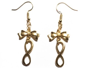 """""""Infinity"""" gold color earrings"""