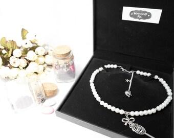"Necklace beads silver cream ""8"" Alice"""