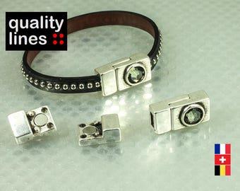 Zamak magnetic rhinestone clasp smoked for flat leather 5mm to 6mm 2 mm bracelet