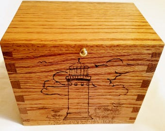 Hand made oak box cedar lined - Lighthouse motif