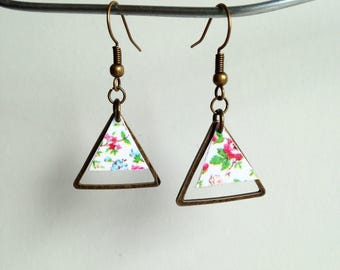 Earrings - Triangles flower - silver metal