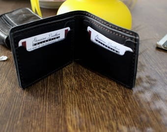 Hand Made Black Men's Leather office  Wallet Customized Personalized Father's Day Groomsmen gift