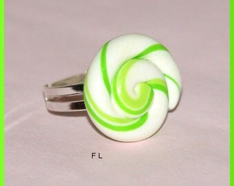 Ring adjustable candy lollipop fruit Apple green
