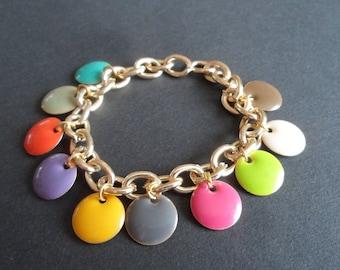 Bracelet gold chain necklace multicolor confetti