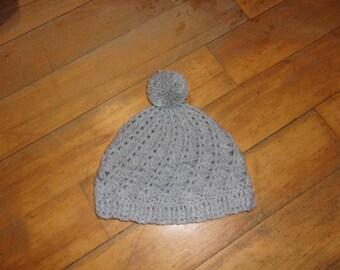 Grey crochet with large Pompom Beanie