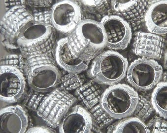 Set of 12 beads 5 mm Tibetan silver striped