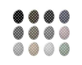 Digital bottle cap images - Shades of gray polka dot images - Ovals - Bottle cap jewelry patterns - Digital images