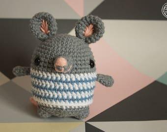 """Little mouse'"" 100% cotton Crochet Amigurumi rattle toy"