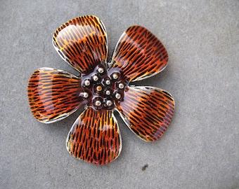 Large flower enameled pendant orange 5.5 cm