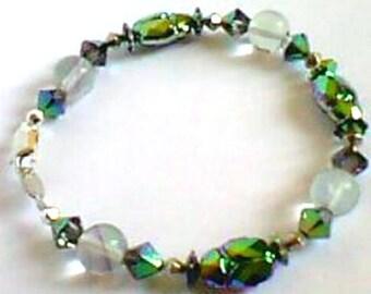 Scarab - fluorite - Silver 925 - Swarovski Crystal bracelet-Bohemian style