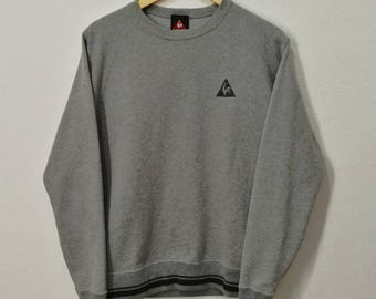 RARE!! Le Coq Sportif Embroidery Emblem Sweatshirt Sweater Jumper Pullover