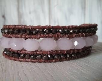 Handmade Leather Bracelet and glass beads