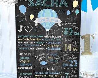 "Picture / poster ""Slate balloons"" personalized birthday - for a custom decoration"
