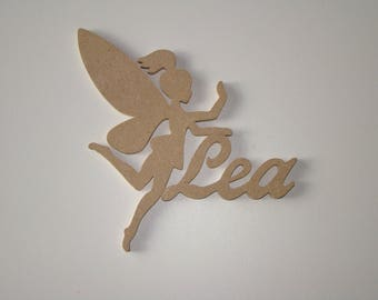 Door plate Tinkerbell with name of mdf wood