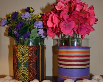 2 PLANTERS (VASES) IN FABRIC COLORS TO CHOOSE
