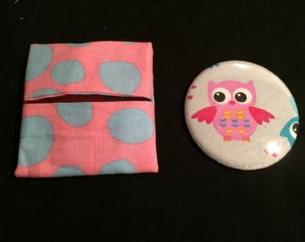OWL printed Pocket mirror / pink OWL and matching wallet