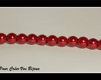 Set of 50 6mm red glass beads