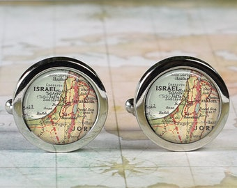 Israel cuff links, Israel map cufflinks wedding gift anniversary gift for groom gift for him groomsmen best man Father's Day gift