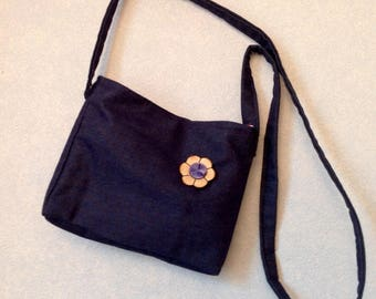 "Small shoulder bag denim double ""Vichy"" fabric"
