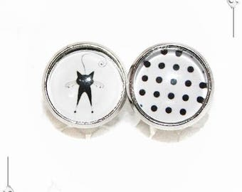 "Polka dot earrings black & white ""Cat"" polka dot Shabby chips Cabochon"