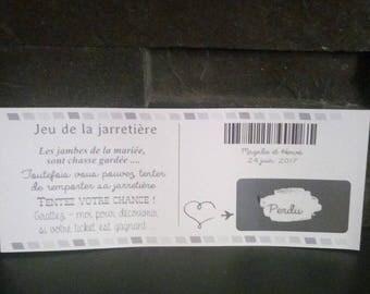 scratch card for revisited raffle for wedding garter set