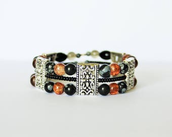 Bracelet memory wire with silver beads Tibetan and gemstone-ethnic bracelet beads